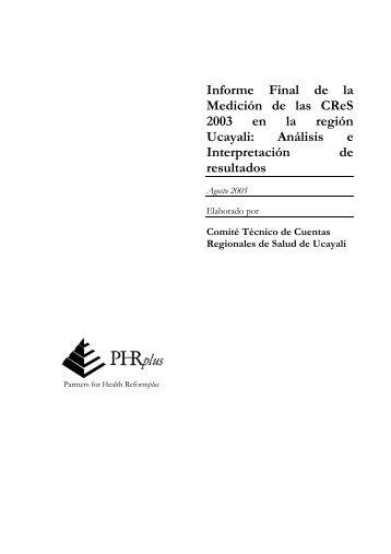 Informe Final de la Medición de las CReS 2003 en la región Ucayali ...