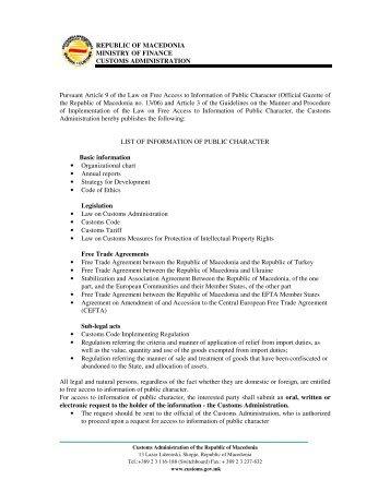REPUBLIC OF MACEDONIA MINISTRY OF FINANCE CUSTOMS ...