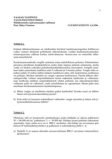 1 VAASAN YLIOPISTO TALOUSMATEMATIIKKA Päätöksenteko ...