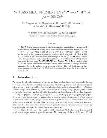 e^{-} \rightarrow e^{-}\bar{\nu}W - ACFA Joint Linear Collider Physics ...