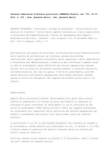 C.T.P. Brescia, sez. VII - Ratio