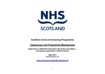 Scottish Cervical Screening Programme Colposcopy and ...