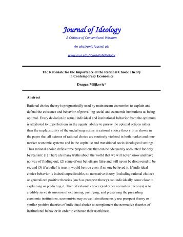 The Rationale for the Importance of the Rational Choice Theory in ...