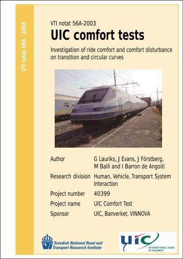 UIC comfort tests - VTI