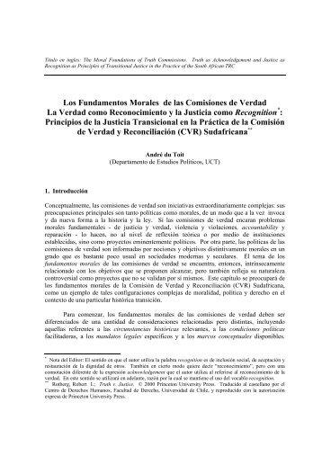 Los Fundamentos Morales de las Comisiones de Verdad La ... - DHnet