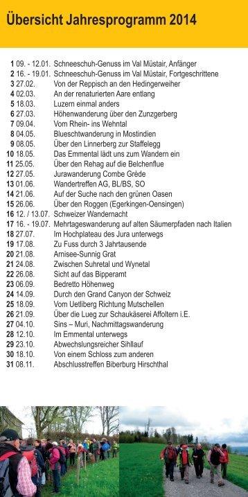 detailierten Wanderprogramm - Aargauer Wanderwege