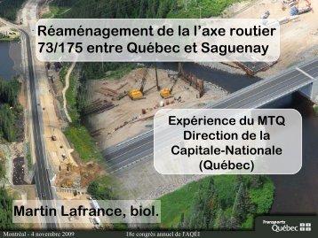 (MTQ), Direction territoriale de la Capitale-Nationale, dans le