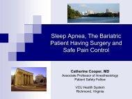 Sleep Apnea, Bariatric Surgery and Pain Control - Virginiaspan.org