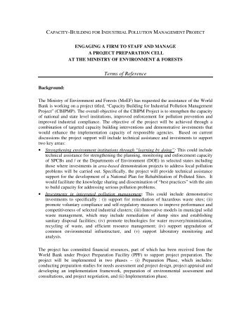 Terms of Reference - Ministry of Environment and Forests