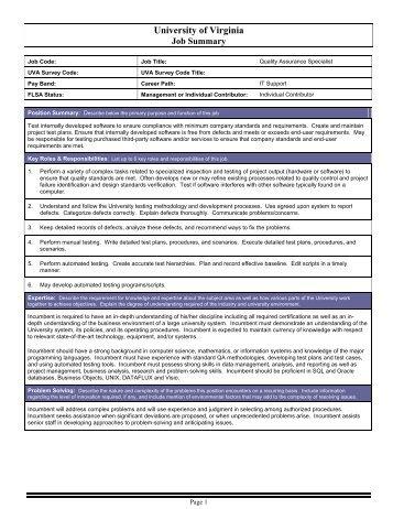 Quality Assurance Analyst - University of Virginia