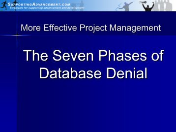 More Effective Project Management - Supporting Advancement