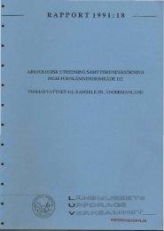 Arkeologisk utredning samt förundersökning inom ...
