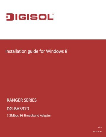 DG-BA3370 Installation Guide for Windows 8 - Digisol.com