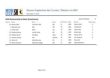 """Klassen Ergebnisse des Turniers """"Western im Bild"""""""