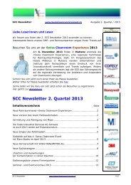 SCC Newsletter 2. Quartal 2013 - Swiss Cleanroom Concept