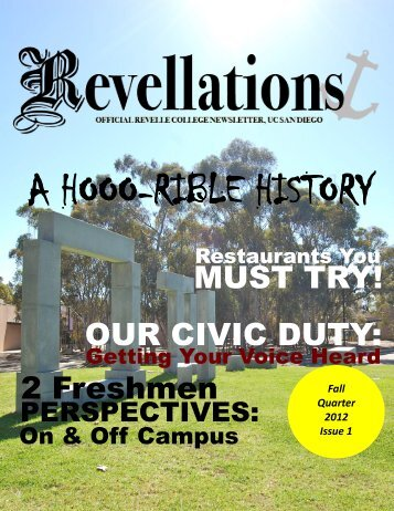 Fall 2012, Issue 1 - Revelle College - UC San Diego