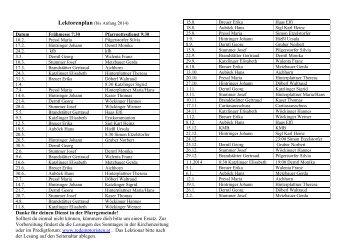 Lektoren- und Kommunionhelferplan - Pfarre Mauthausen