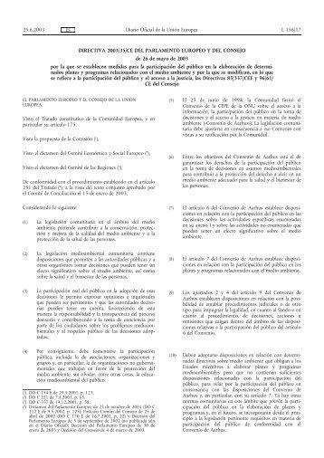 DIRECTIVA 2003/35/CE DEL PARLAMENTO EUROPEO ... - EUR-Lex