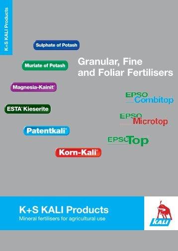 Granular, Fine and Foliar Fertilisers K+S KALI ... - K+S KALI GmbH