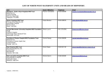 LIST OF NORTH WEST MATERNITY UNITS AND ... - NHS North West