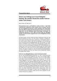 Presseinformation Direct Line Umfrage zum neuen Bußgeld- Katalog