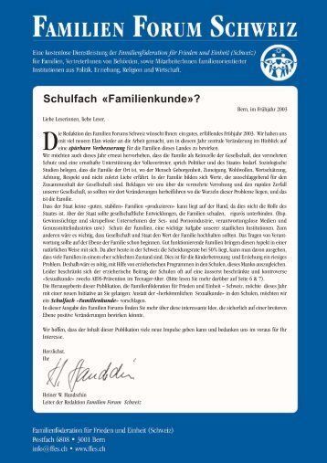 Schulfach «Familienkunde»? - the Family Peace Forum