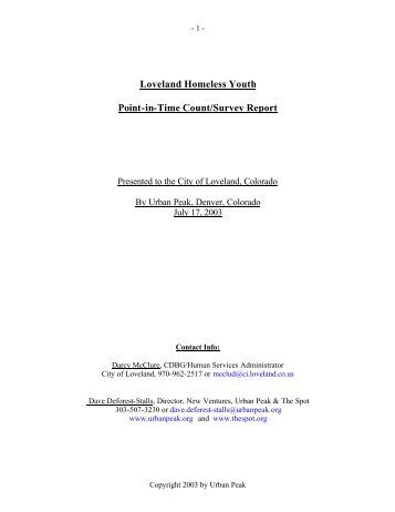 Loveland Homeless Youth Point-in-Time Count/Survey Report