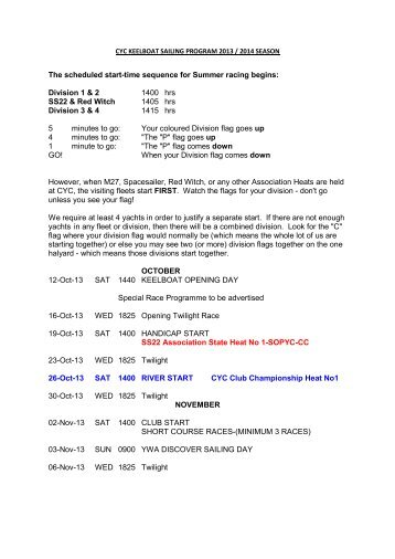 2013 / 2014 Keelboat Fixtures - Claremont Yacht Club