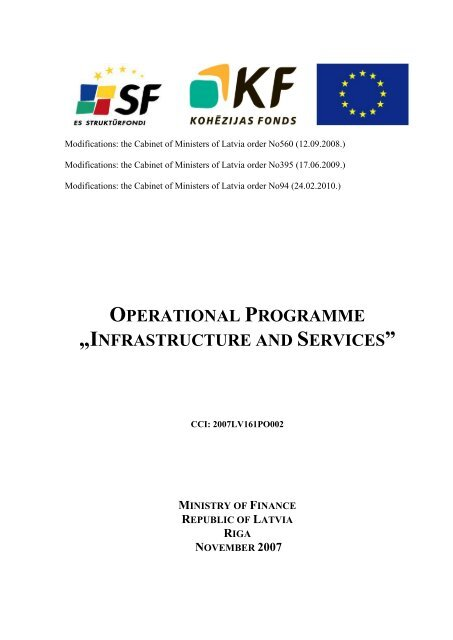 """operational programme """"infrastructure and services"""" - ES fondi"""