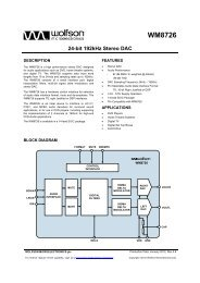 WM8726, Rev 4.8 - Wolfson Microelectronics plc