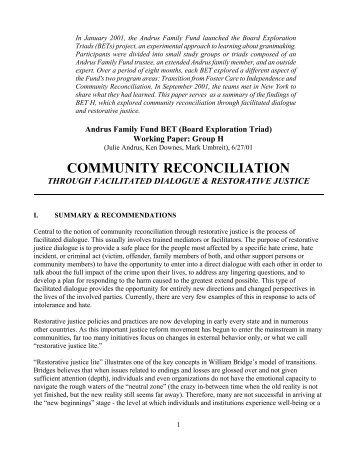 COMMUNITY RECONCILIATION - Racial Equity Tools