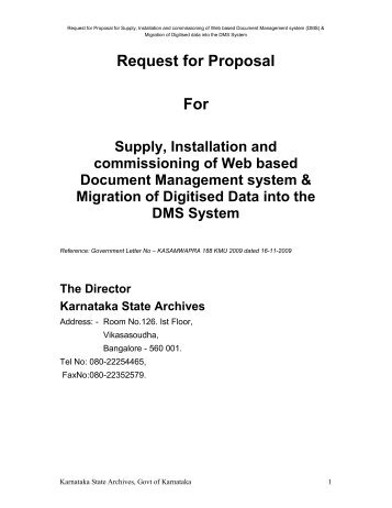 Request for Proposal For - Government of Karnataka