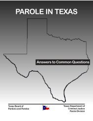 PAROLE IN TEXAS - Texas Department of Criminal Justice