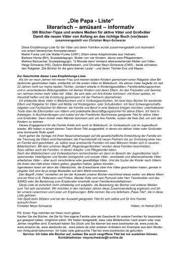 """""""Die Papa - Liste"""" literarisch – amüsant – informativ - Das Neueste ..."""