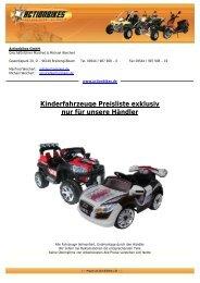 Kinderfahrzeuge Preisliste exklusiv nur für unsere ... - Actionbikes