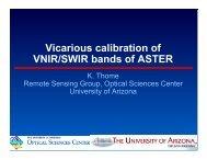 Vicarious calibration of VNIR/SWIR bands of ASTER