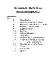 Neuanschaffungen 2013 - Pastoralverbund Olpe-Biggesee