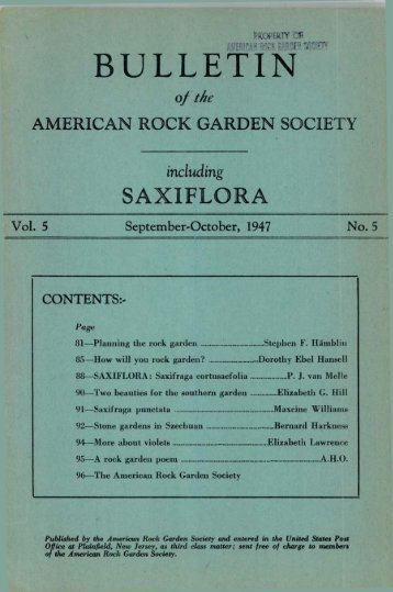 September-October 1947 - North American Rock Garden Society