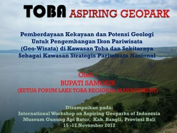 TOBA Aspiring Geopark - Pemerintah Kabupaten Samosir
