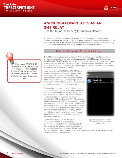 Read Android Malware Acts as an SMS Relay - Trend Micro