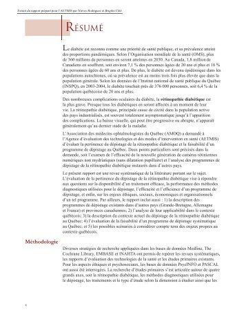 résumé-summary-Rétinopathie diabétique_FR.indd - INESSS