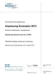 Bericht zur Anpassung Zonenplan 2013 - Gemeinde Dänikon