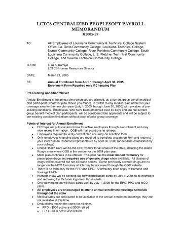 Memo #27, Annual Enrollment from April 1 through April 30, 2005 ...