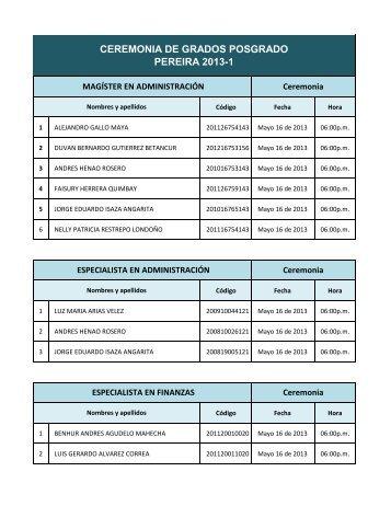 CEREMONIA DE GRADOS POSGRADO PEREIRA 2013-1