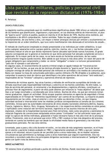 Lista parcial de militares, policías y personal civil que revistió en la ...
