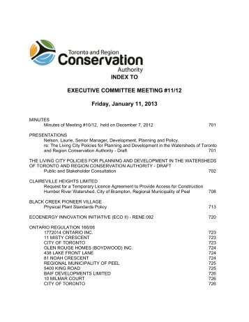Executive Committee - Toronto and Region Conservation Authority