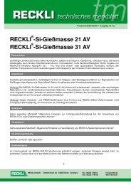 03236 Si-Gießmasse 21 AV und 31 AV - RECKLI GmbH: Home