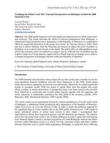 Island Studies Journal, Vol. 7, No.1, 2012, pp ... - Island Studies.ca