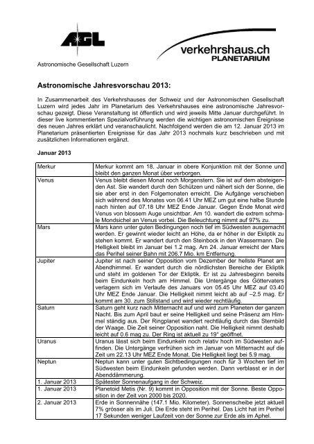 Astronomisches Jahr 2013 - Verkehrshaus der Schweiz