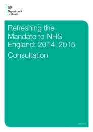 Refreshing the Mandate to NHS England: 2014–2015 ... - Gov.uk